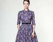Women Circle Dress, Bridesmaid Dress, Liberty Print, Collar Dress, Floral Dress, Midi Dress, 1950's Dress,Cocktail Dress,Vintage Style Dress