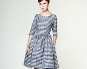 Women Linen Dress, 1950's Dress, Flare Dress, Linen Print Dress, Plaid Dress, Mad Men Dress, Gingham Print Dress, Linen Clothes,Pocket Dress