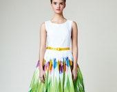 Women Floral Dress, Midi Dress, Alternative Wedding Dress, Flare Dress, Pleated Dress, Flower Dress, 1950's Dress, Vintage Style Dress