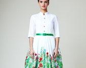 Women Midi Dress, Floral Wedding Dress, 1950's Dress, Simple Wedding Dress, Flower Dress, Flare Dress, Alternative Wedding Dress, Cocktail