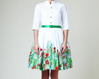 Simple wedding dress Floral wedding dress 1950 wedding dress 50s wedding dress Short wedding dress Plus size dress Retro wedding dress
