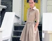 Women Beige Dress, Wool Lounge Dress, Gingham Dress, Belt House Dress, Shirt Dress, 1950's Dress, Plaid Dress, Pocket Dress, Retro Dress