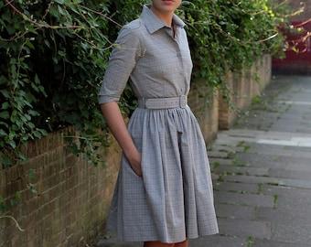 50s dress 1950s dress Shirt dress Plus size dress Grey dress Ladies dress Womens dresses Knee length dress Button up dress Belted dress