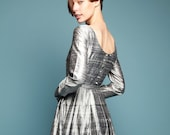 Silver dress from Italian 100% raw pure silk - Metallic grey wedding dresses for women - Cocktail vintage style gown