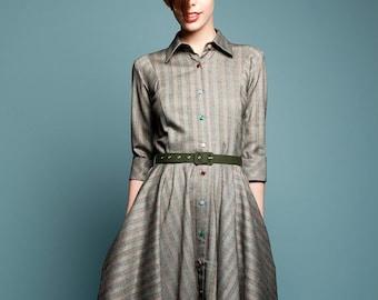 Dress For Women, Wool Dress, Gray Dress, Winter Midi Dress, Shirt Dress, Belt Dress, 1950's Dress, Retro Dress, Vintage Style, Flare Dress