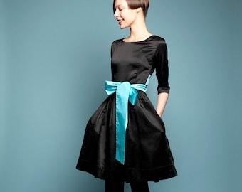 Midi Dress, Silk Dress, Flare Dress, Audrey Hepburn Dress, Little Black Dress, Black Silk Dress, Cocktail Dress, 1950's Dress, Vintage Style