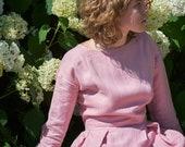 Linen Dress, Long Sleeves Linen Dress, Plus Size Clothing, Pleated Linen Dress, Women Midi Dress, Linen Midi Dress, Vintage Style Dress