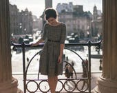 Linen Plaid Dress, 1950's Dress, Vintage Style Dress, Linen Clothing, Pin Up Dress, Flare Dress, Retro Linen Dress, Office Dress, VLV Dress