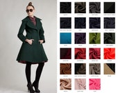 Green Wool Princess Coat in Vintage Style by MrsPomeranz