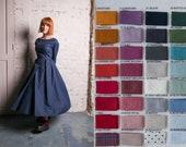Women Linen Dress, Navy Blue Dress, Linen Wedding Dress, Flare Dress, Minimalist Clothing, Modest Dress with pockets