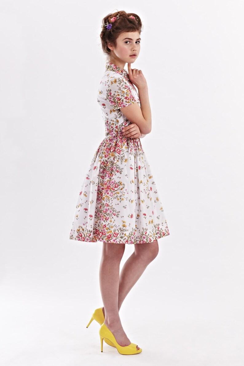 Women Midi Dress Floral Bridesmaid Dress Wedding Guest Dress 1950 S Dress Flare Dress Shirt Dress Beach Wedding Dress Pocket Dress