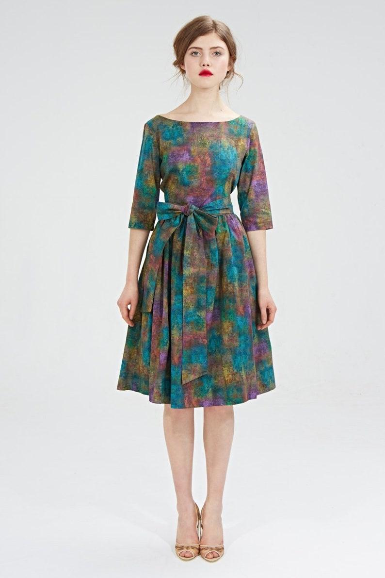 63598bd8699a Liberty Print Dress 1950's Dress Flare Dress Belt | Etsy