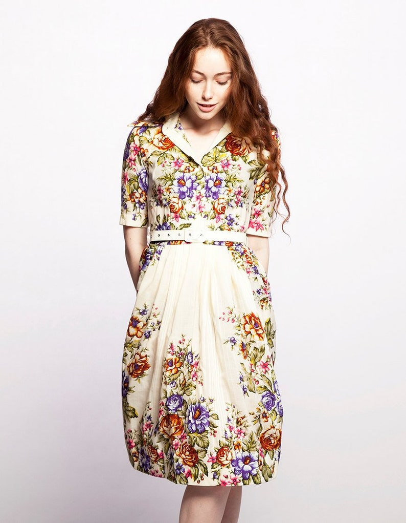 Trouwjurk Bloemenprint.Boho Wedding Dress Floral Trouwjurk 1950 S Jurk Wollen Etsy