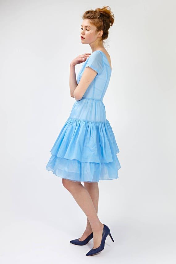 dress Plus dress flare skirt Blue 50s size bridesmaid dress dress Bridesmaid Fit Short Low dress blue Full and dresses bridesmaid back Owf4IwqC