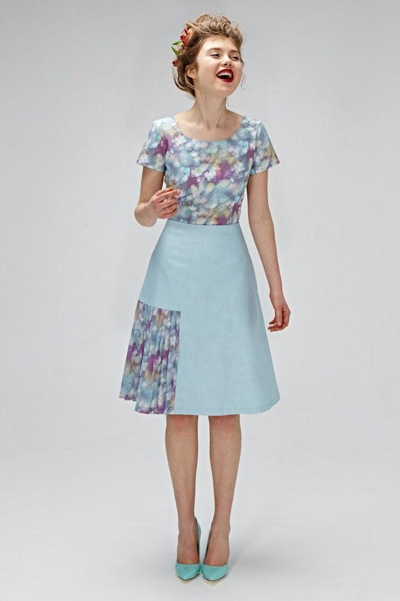 Frauen kleiden, 1940, Kleid, Liberty Kleid, Cocktailkleid, blaues Kleid, knielange Kleid, elegantes Kleid, Kleid aus Baumwolle, Plus Size Kleidung