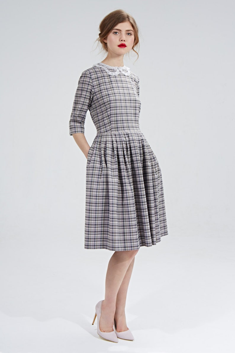 Cottagecore Clothing, Soft Aesthetic Plaid Dress Wool Dress Lace Collar Dress 1950s Dress Midi Dress Vintage Style Dress Retro DressFlare Dress Pleated Dress Office $229.50 AT vintagedancer.com