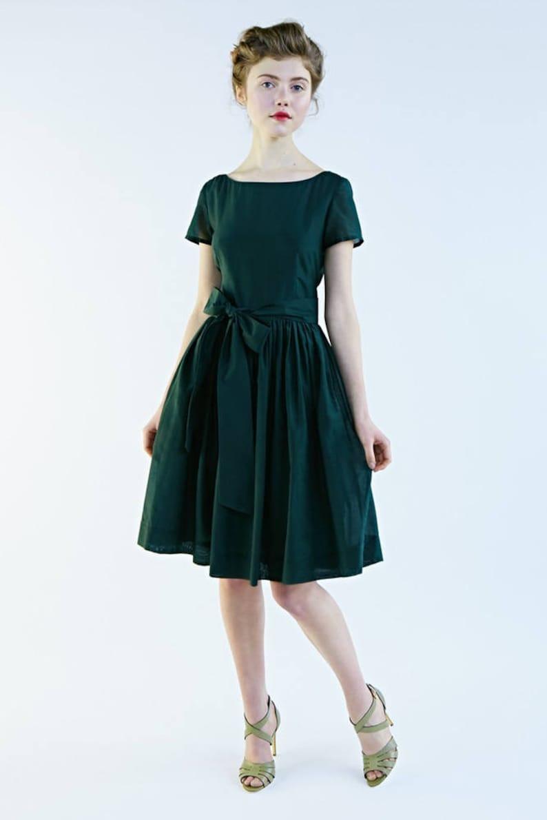 Wedding Guest Dress Silk Dress Green Dress Midi Dress 1950 S Dress Bridesmaid Dress Pleated Dress Vintage Style Dress Summer Dress