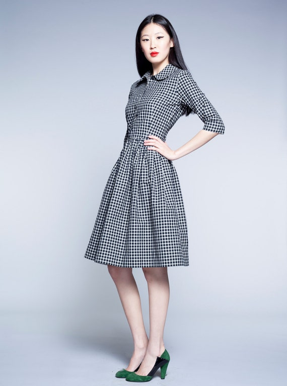 size white dress dress Gingham 1950s and dress dress Plus Black Peter dress Knee length Shirt dress dress dress Retro pan 50s collar Pleated qBTwOgq