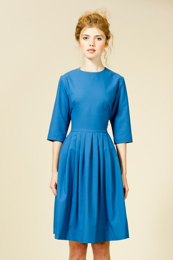 flare Party Retro dress 1X L 1950 blue collar XS order dress dress 50 Fit Plus royal blue dress XL M Dress S with and size to Made qACq7