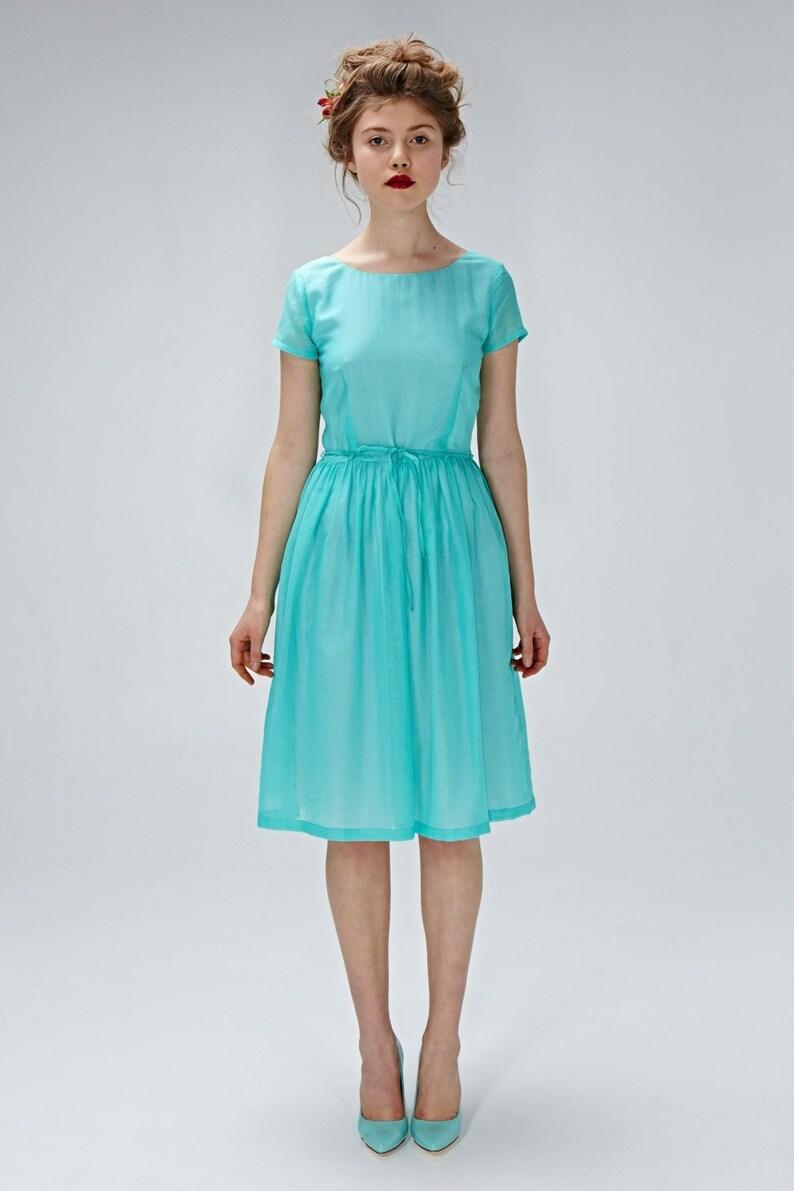 7d97090b473d Women Silk Dress Bridesmaid Dress Midi Dress Flare Dress | Etsy