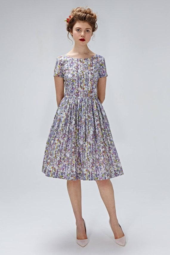 1950s print dress