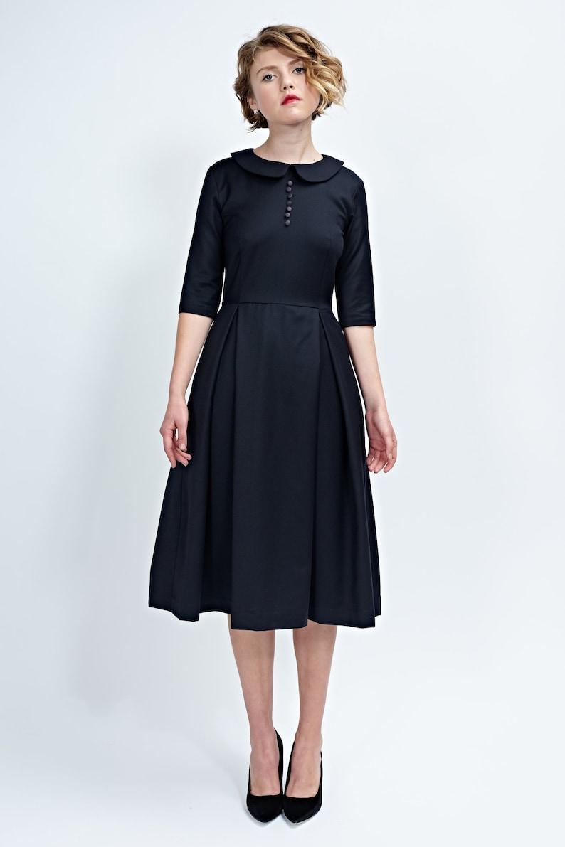 Vrouwen Zwarte Vintage Jurk Wollen KraagEtsy Stijl c5ARjq34L