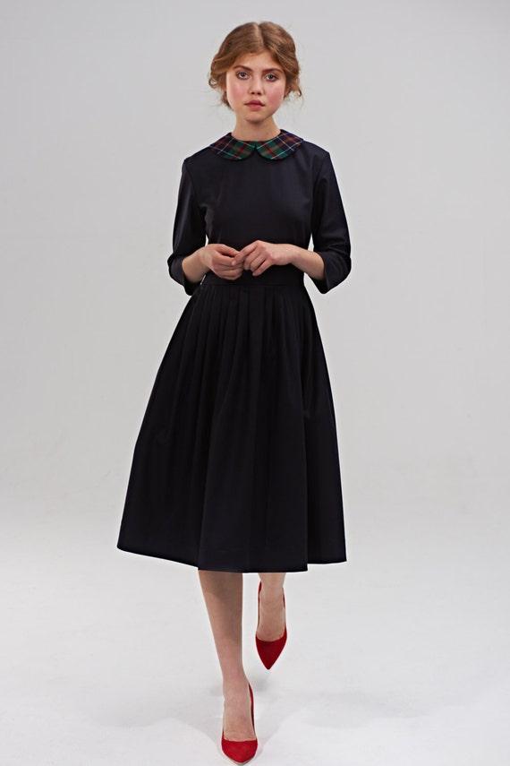 Vestito nero vestito anni   50 Midi Dress abito a  af133fb0ac8