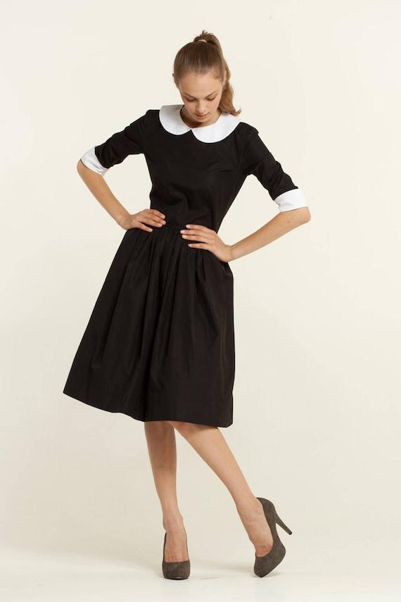 Women Black Dress Midi Dress Collar Dress Flare Dress Etsy