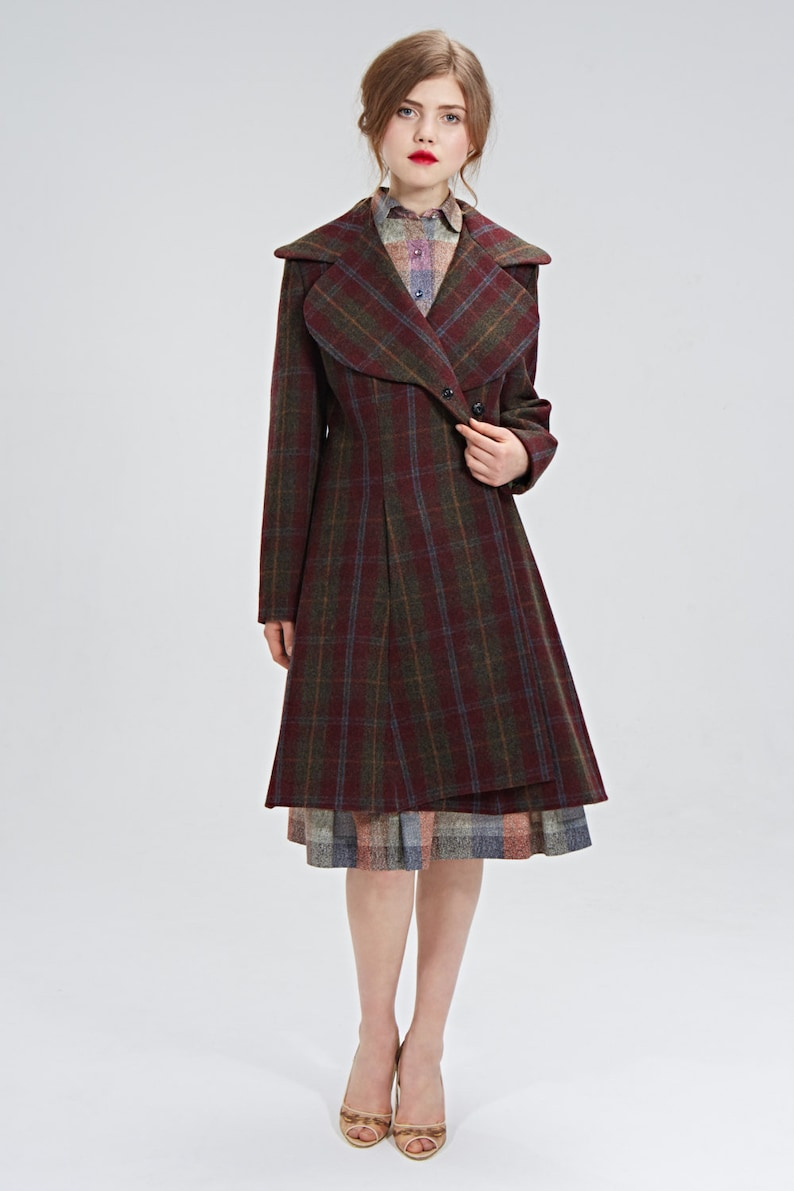 1940s Style Coats and Jackets for Sale Red Wool Coat Burgundy Coat Tartan Coat Plaid Coat Office Outfit Warm Coat Plus Size Clothing 1940s Clothing Vintage Style Coat $299.00 AT vintagedancer.com