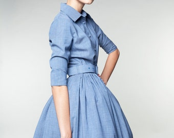 Formal dress Cocktail dress Wool dress 1950 dress 50s dress Blue dress Retro dress Pleated dress Plus size dress Vintage inspired dress