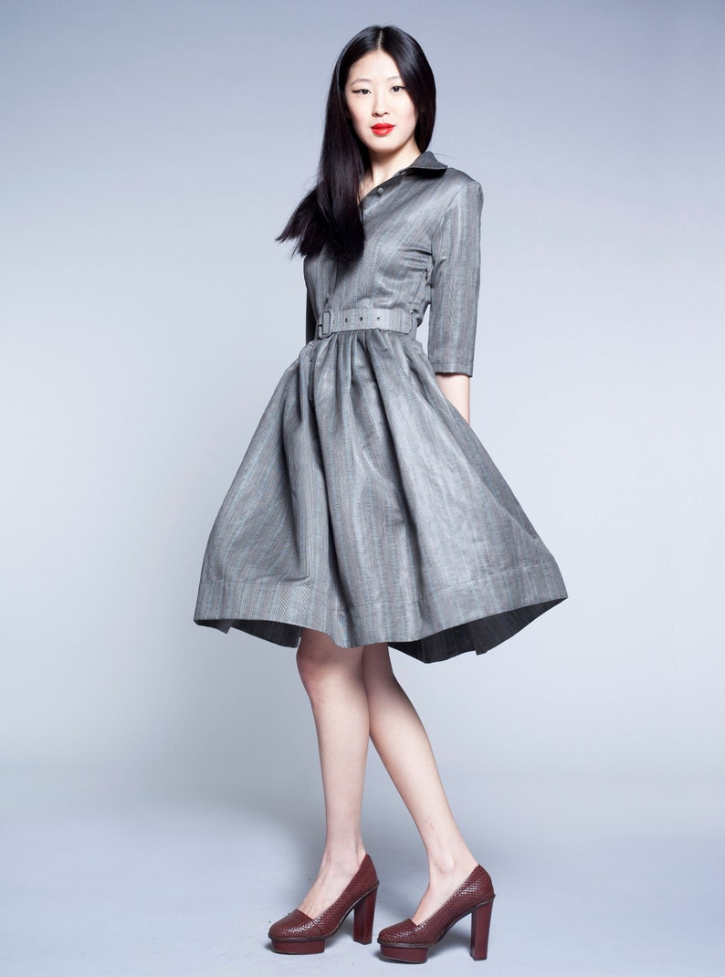 Grey Dress, Shirt Dress For Women, Circle Dress, Plus Size Clothing, Dress  With Belt, Japanese Clothing, Silver Dress, Tutu Dress, Party