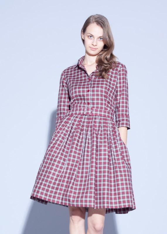 dress dress dress Knee Collared tartan Belted dress 1950 Red shirt dress Red dress skirt plaid dress Handmade length Pleated dress qzxwxIgBH