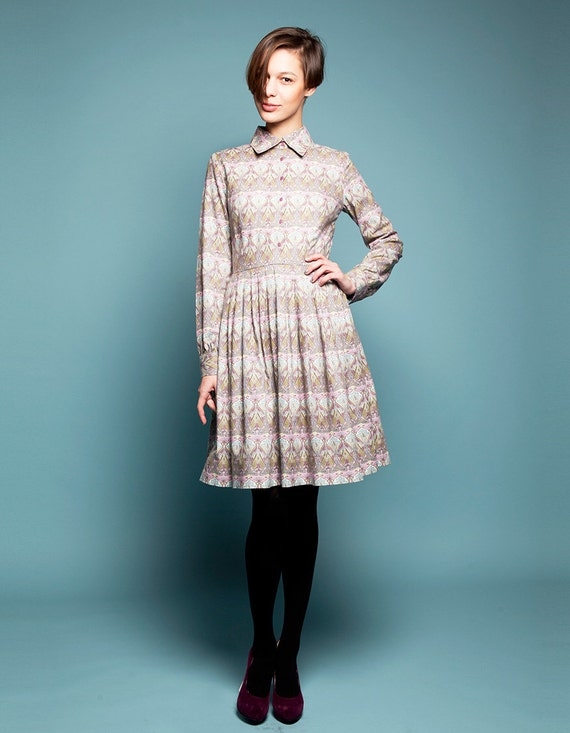 Collar Dress Vintage Style Dress Women Midi Dress Liberty Print Dress Floral Dress Peter Pan Collar Retro 1950/'s Dress Shift Dress