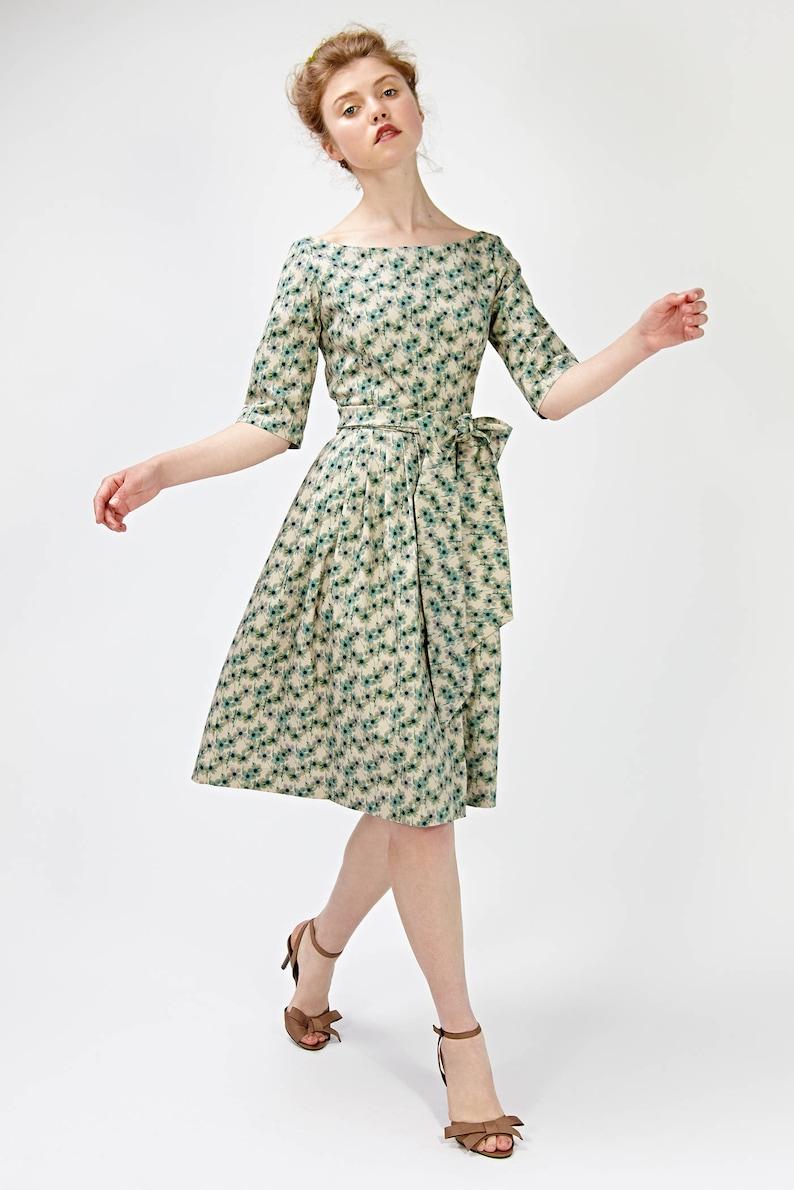70bf660f4fe6 Women Midi Dress Floral Dress Green Dress 1950 s Dress