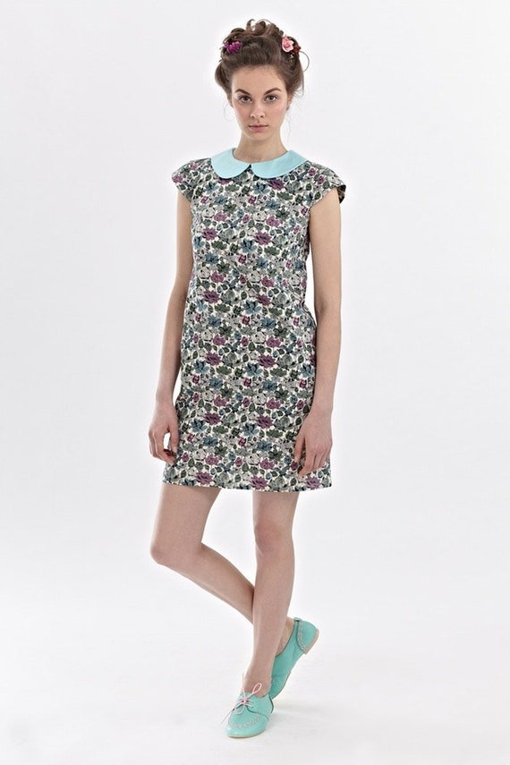 805a5da2c198 Women Midi Dress Floral Dress Collar Dress Shift Dress