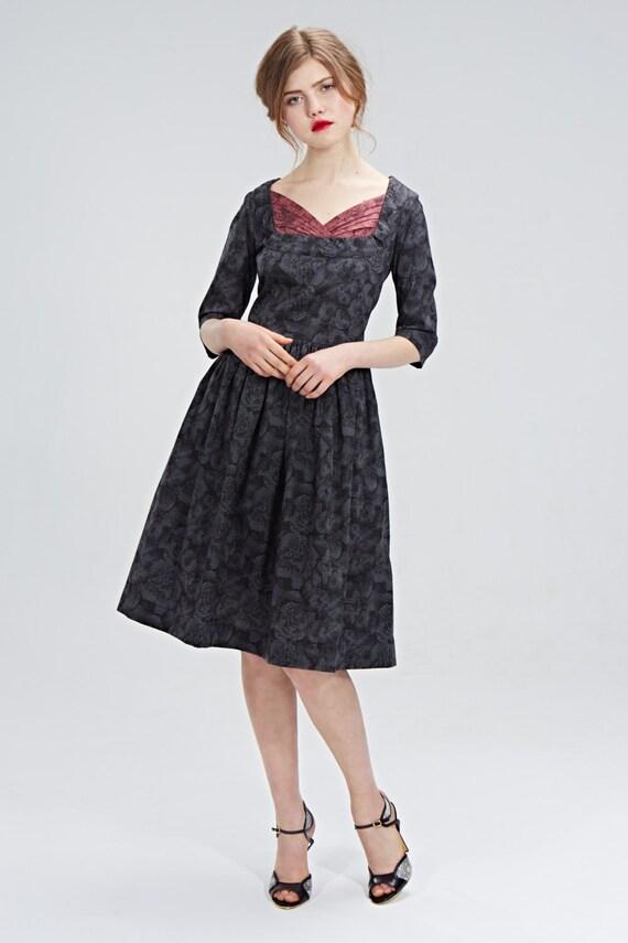 Grau Kleid Fit und Streulicht Hochzeitskleid Gast Schatz Kleid
