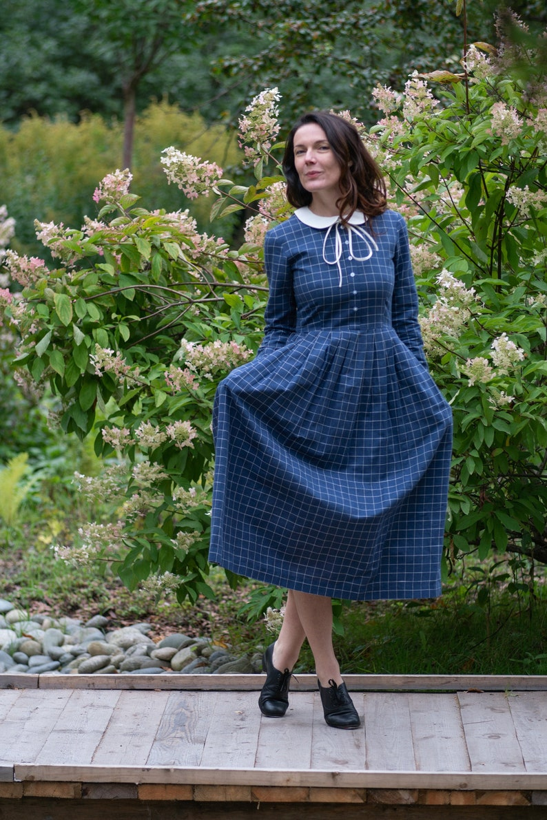 1920s Day Dresses, Tea Dresses, Mature Dresses with Sleeves Linen Gingham Dress Peter Pan Collar Dress Amish Linen Dress Puritan Dress Linen Collar Dress Shirt Linen Dress Linen Clothing Flare $241.39 AT vintagedancer.com