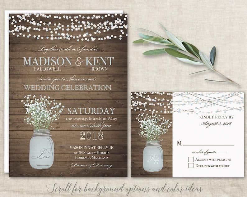 Mason Jar Wedding Invitations Suite Rustic Country Etsy