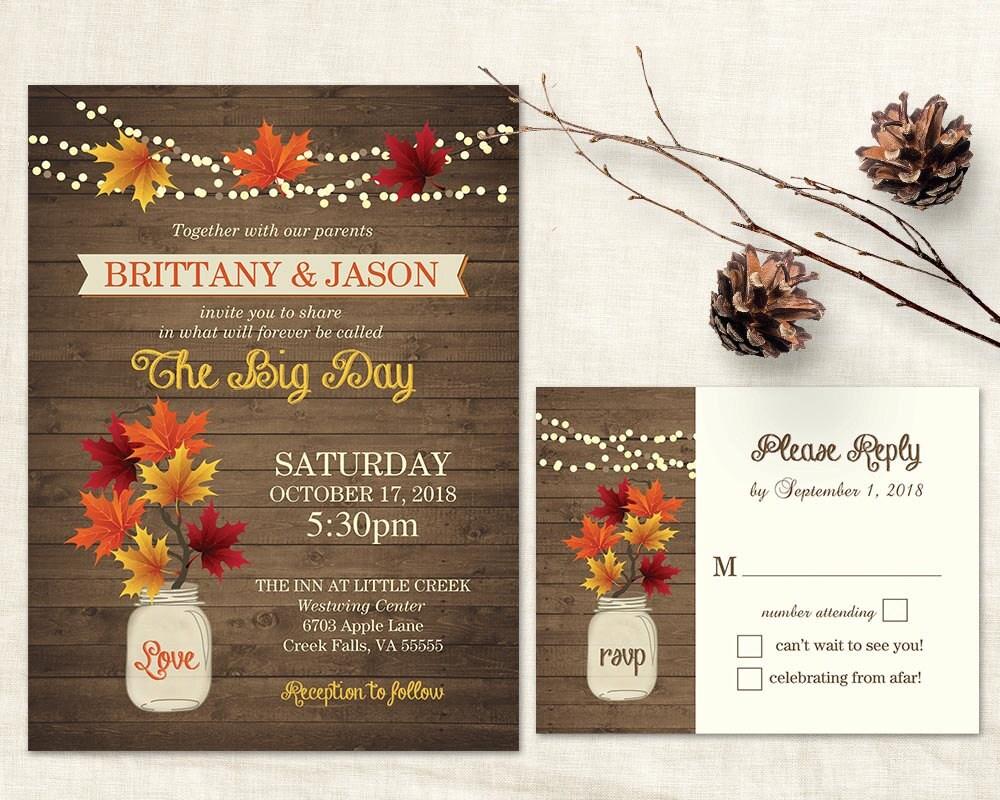 Diy Autumn Wedding Invitations: Fall Wedding Invitations Rustic Mason Jar Country Wedding