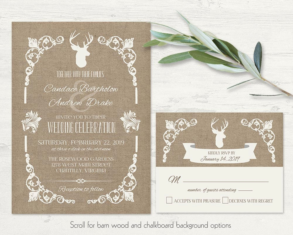 Deer Wedding Invitations Set Vintage Rustic Printable Wedding   Etsy