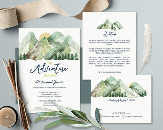 Mountain Wedding Invitations Woodsy Nature Wedding Invitation Etsy