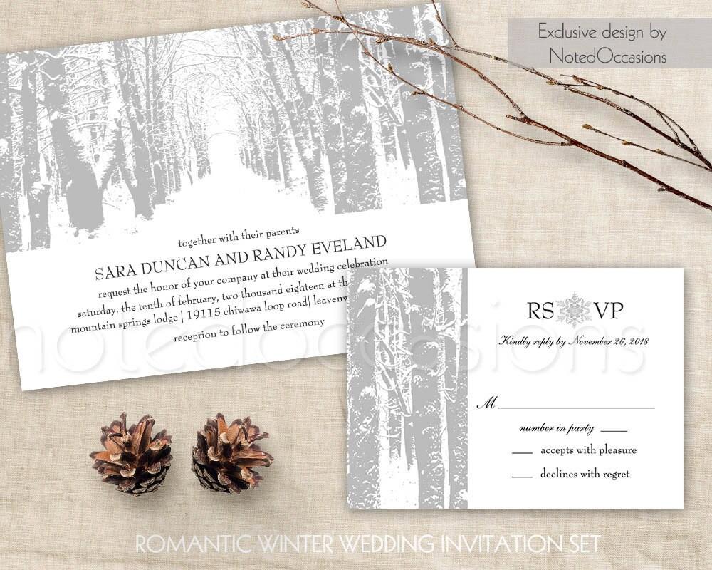 Winter Wedding Invitation Printable Christmas Wedding Invitation And Rsvp Card Tree Wedding Winter Trees Snowflakes Diy Digital Template