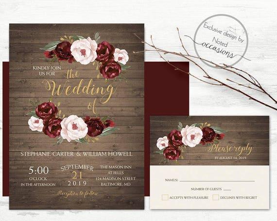 Rustic Romantic Wedding Invitations: Romantic Rustic Fall Wedding Invitation Burgundy Marsala