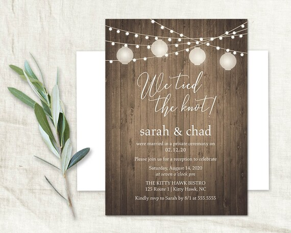 Wedding Reception Only Invitations Wood Paper Lanterns Rustic Etsy