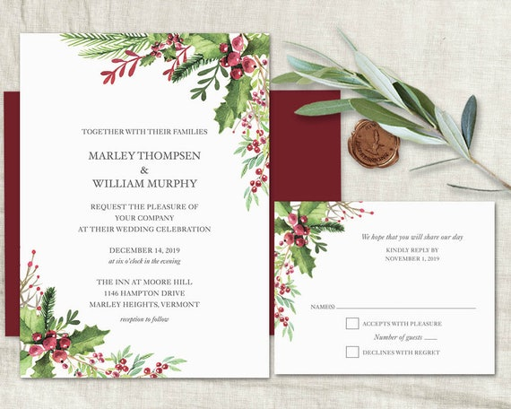 photo relating to Etsy Wedding Invitations Printable named Winter season Marriage ceremony Invitation Printable Template Rustic Wintertime Invitation Mounted Xmas Marriage Burgundy Berry Holly Pinecone Wedding day Invitation