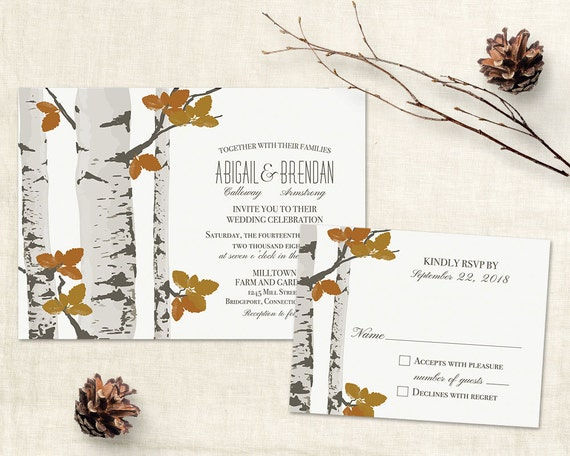 rustic fall wedding invitation template printable birch