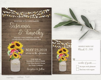 Rustic Wildflower Wedding Invitation Set Rustic Wedding Mason Jar Sunflower Wildflower Country Wedding DIY Printable or printed template