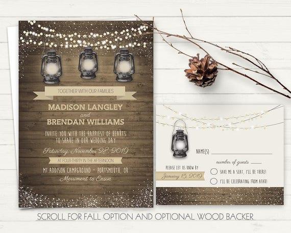 Camping Wedding Invitations: Barn Wedding Invitation Printable Rustic Camping Wedding