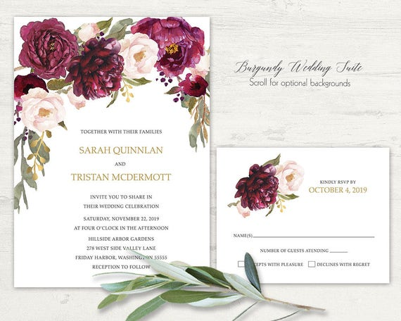 Romantic Fall Wedding Invitation Navy Burgundy Wine Blush Roses Gold Print Shimmery Elegant Bohemian Invitations Scroll For Color Options