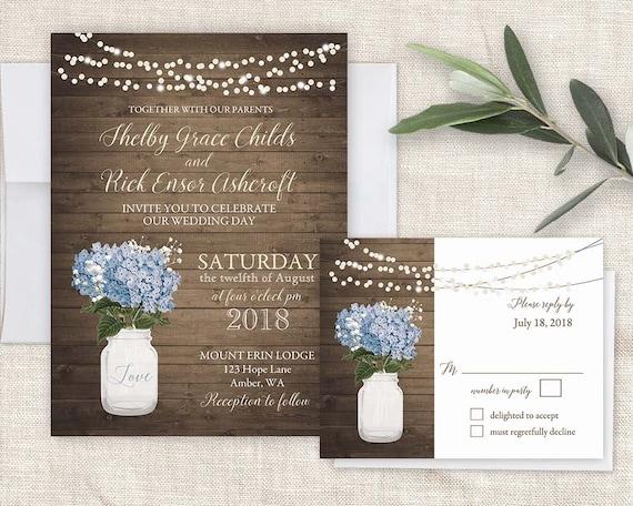 Rustic Wedding Invitations Mason Jar Wedding Barn Wood Blue Etsy